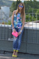 teal ripped Miss Sixty jeans - hot pink box clutch neon Zara bag