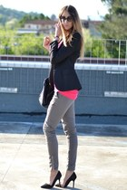black Zara shoes - hot pink Ella Tino sweater - black imperial blazer