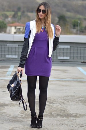 purple Rinasciemnto dress - black Stradivarius boots - c&a jacket