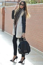 white Sheinside coat - black H&M jeans - H&M scarf - black Givenchy bag