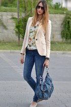 neutral Zara blazer - blue Rifle jeans - blue Miu Miu bag