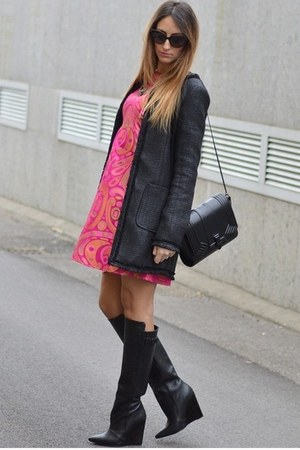 black Zara boots - hot pink Maison 39 dress - black Sheinside coat