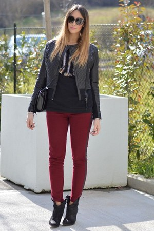 black Zara boots - black Pinko jacket - black Zara bag