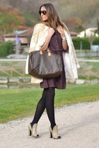 beige Prada heels - puce mina art dress - beige Zara coat