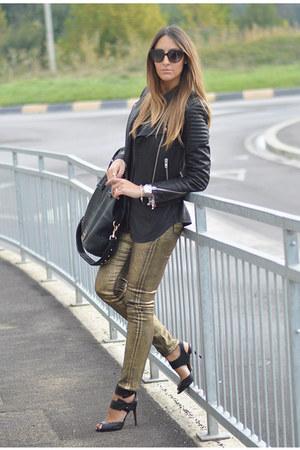 black leather H&M jacket - gold H&M jeans - black Givenchy bag