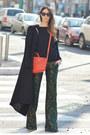 Black-long-h-m-coat-carrot-orange-mini-givenchy-bag