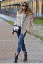 black Zara bag - black rupert sanderson boots - teal Diesel jeans