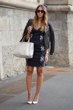 black lbd Pinko dress - black leather H&M jacket - white Prada bag