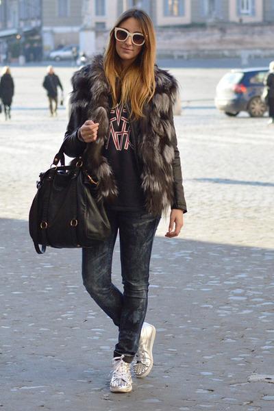 black leather jacket Pinko jacket - teal H&M jeans - black Miu Miu bag