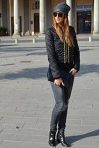 heather gray Fornarina jeans - black H&M shoes - black Rinascimento jacket