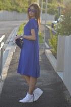 blue Cashmere Lounge dress - black Oakley sunglasses - white nike sneakers