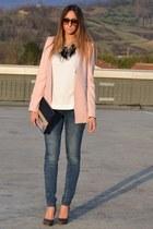 charcoal gray Miu Miu heels - blue Rifle jeans - light pink Zara blazer