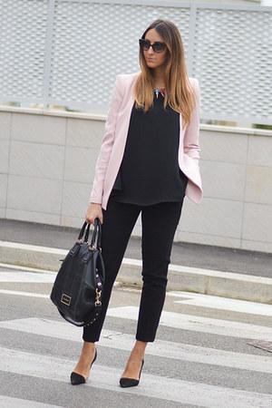 black Givenchy bag - light pink Zara blazer - black christian dior sunglasses
