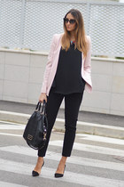 black Givenchy bag - light pink Zara blazer - black christian dior sunglasses