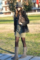heather gray Ugg boots - heather gray Panizza hat - olive green Prada bag