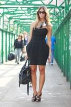 light pink asos necklace - black vintage dress - black Miu Miu bag