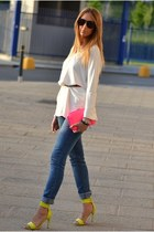 chartreuse H&M sandals - teal Cheap Monday jeans - hot pink Zara Trf bag