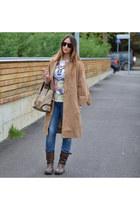 light brown Bikkembergs boots - blue dondup jeans - camel Loops jacket
