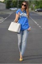 ivory Prada bag - light blue Sisley jeans - chartreuse H&M sandals