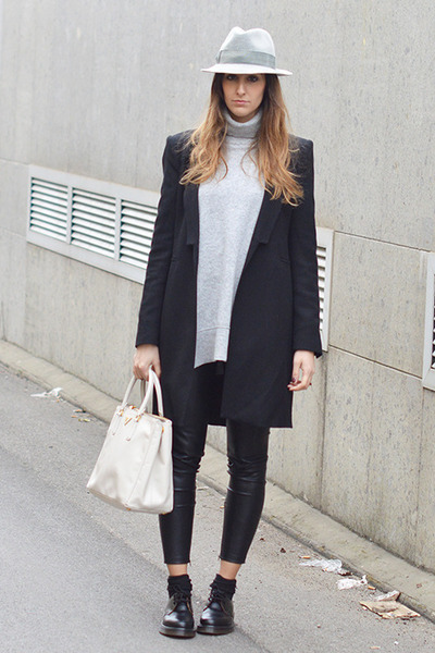 black Dr Martens shoes - black Zara coat - heather gray Borsalino hat