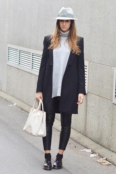 Black Dr Martens Shoes Black Zara Coats Heather Gray