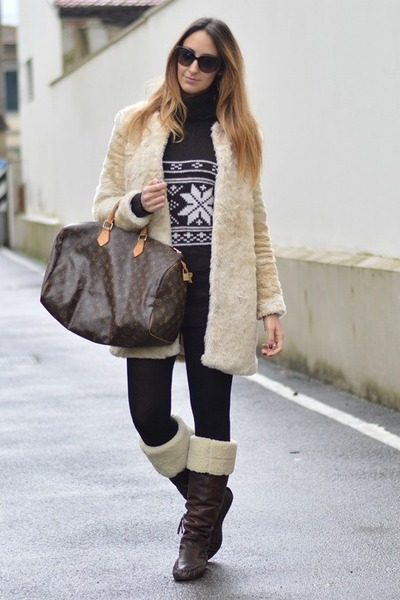 brown Louis Vuitton bag - dark brown Miu Miu boots