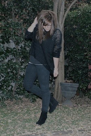 black Cheap Monday jeans - black knitted Neon Hart jumper - black Varsavia wedge