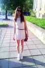 White-lace-h-m-dress-dark-brown-leather-bershka-bag