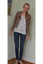 blue denim jeans Levis jeans - light brown H&M jacket - white Zara t-shirt - lig
