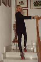 Zara blouse - Zara leggings - Christian Louboutin shoes - bracelets accessories