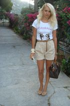 Dsqaured2 t-shirt - Zara shorts - gianmarco lorenzi shoes - Louis Vuitton purse