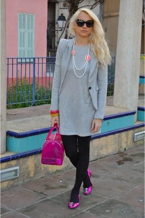 H&M dress - Berhska jacket - Furla bag - dior sunglasses - Furla bracelet - tory