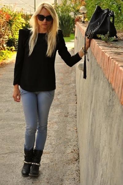 cycle jeans - Zara shirt - Via Repubblica bag