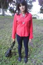 red graceful blouse - black comfortable boots - blue leggings