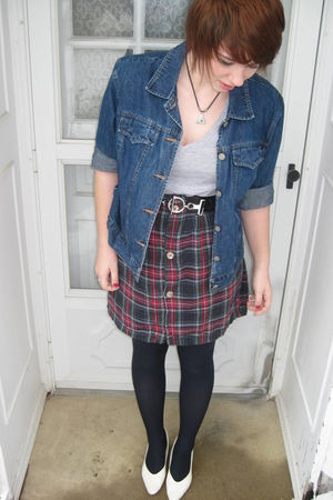 blue thrifted jacket - gray shirt - black belt - red Home made skirt - black sto