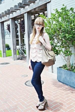 beige chiffon petals ann taylor blouse - navy denim Forever21 jeans