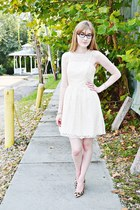 white white lace The Limited dress - brown Jessica Simpson heels