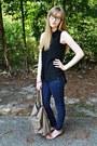 Navy-denim-dark-wash-forever-21-jeans-camel-the-limited-bag