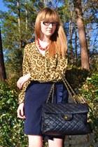 camel leopard print ann taylor blouse - dark gray bag