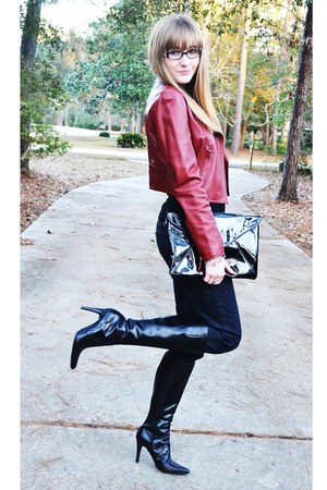 red leather Hilfigure jacket - leather Nine West boots