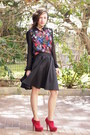 Black-castro-skirt-ruby-red-aldo-heels-forever-21-blouse