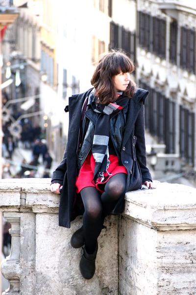 red Zara dress - black asos boots - black H&M vest