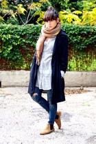 camel asos boots - navy Zara coat - blue Zara jeans - periwinkle Zara blouse