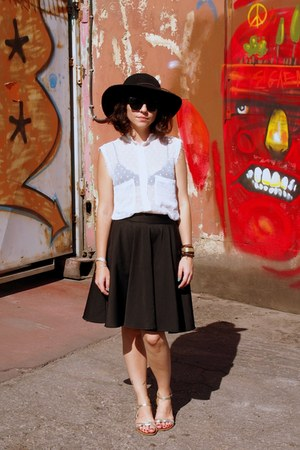 black Forever 21 hat - white Mango blouse