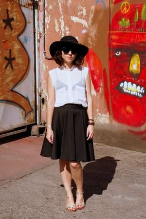 black Forever 21 hat - white Mango blouse