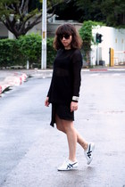 black Mango sweater - black H&M skirt - white asics sneakers