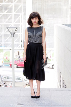 black Adika skirt - dark gray AnyaG shirt - black Forever 21 bag