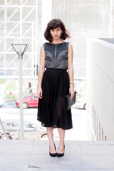black Adika skirt - dark gray AnyaG shirt - black Forever 21 bag