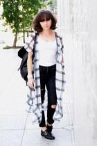 black H&M jeans - white H&M cape - black asos flats