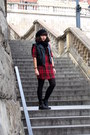 Black-asos-boots-ruby-red-forever-21-shirt-black-h-m-vest